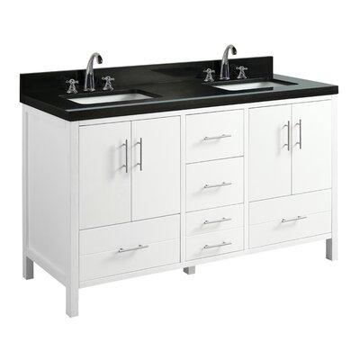 California 60 Double Bathroom Vanity Set Base Finish: White, Top Finish: White