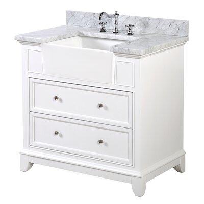 Sophie 36 Single Bathroom Vanity Set Base Finish: White, Top Finish: Carrara Marble