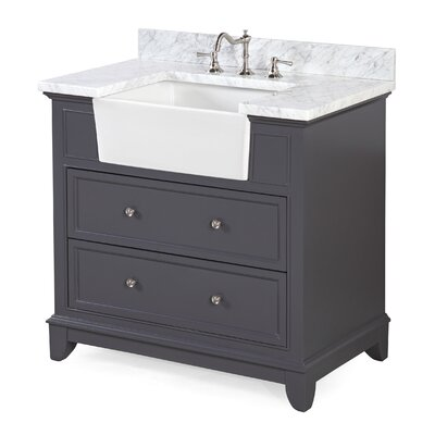 Sophie 36 Single Bathroom Vanity Set Base Finish: Charcoal Gray, Top Finish: Carrara Marble