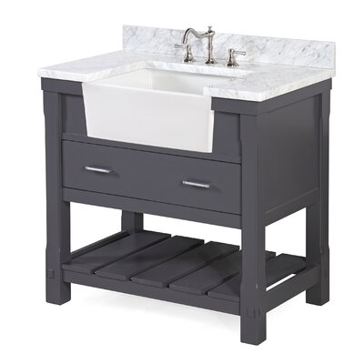Charlotte 36 Single Bathroom Vanity Set Base Finish: Charcoal Gray, Top Finish: Carrara Marble