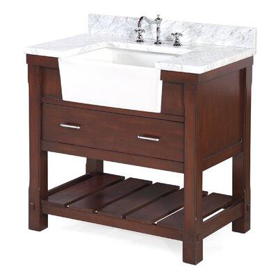 Charlotte 36 Single Bathroom Vanity Set Base Finish: Chocolate, Top Finish: Carrara Marble