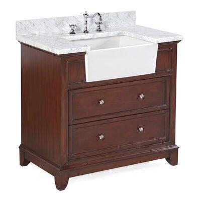 Sophie 36 Single Bathroom Vanity Set Base Finish: Chocolate, Top Finish: Carrara Marble