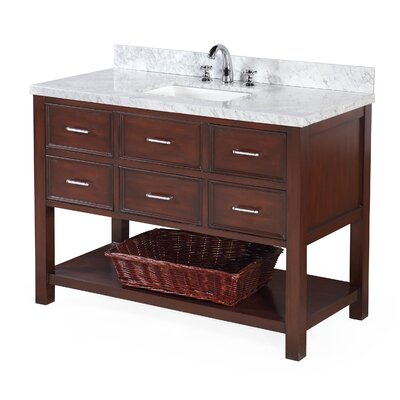 New Hampshire 48 Single Bathroom Vanity Set Base Finish: White, Top Finish: Marble