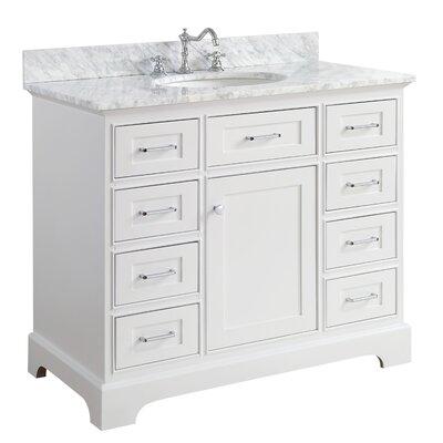 Aria 42 Single Bathroom Vanity Set Finish: Carrara/White
