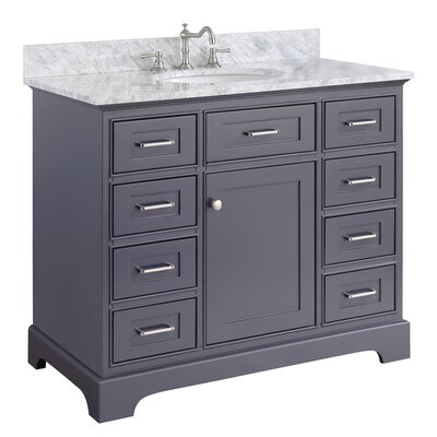Aria 42 Single Bathroom Vanity Set Base Finish: White, Top Finish: Carrara