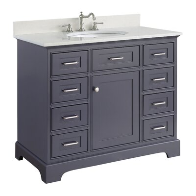 Aria 42 Single Bathroom Vanity Set Finish: Quartz/Charcoal Gray