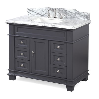 Elizabeth 42 Single Bathroom Vanity Set Color: Carrara/Charcoal Gray