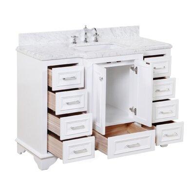 Nantucket 48 Single Bathroom Vanity Set Base Finish: White, Top Finish: Quartz
