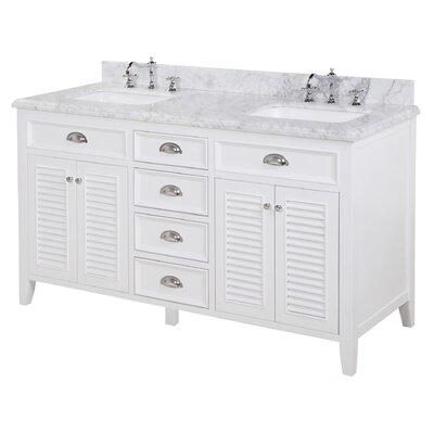 Savannah 60 Double Bathroom Vanity Set Base Finish: White