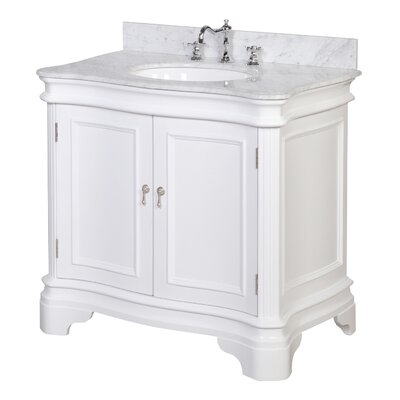 Katherine 36 Single Bathroom Vanity Set Base Finish: White, Top Finish: Marble