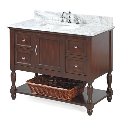 Beverly 42 Single Bathroom Vanity Set Base Finish: Chocolate, Top Finish: Carrara Marble