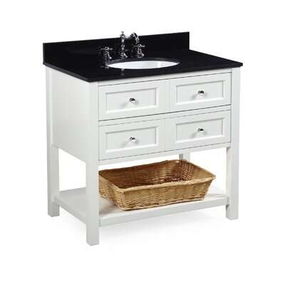 New Yorker 36 Single Bathroom Vanity Set Base Finish: White, Top Finish: Black