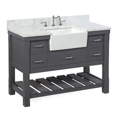 Charlotte 48 Single Bathroom Vanity Set Base Finish: White, Top Finish: Carrera Marble