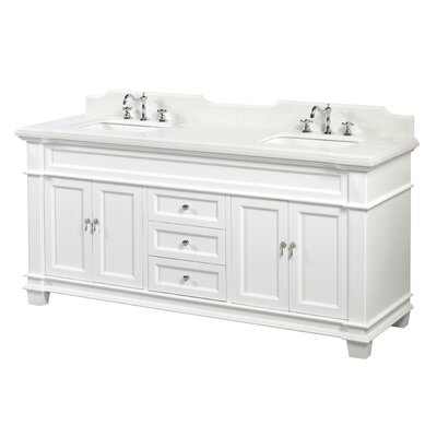Elizabeth 72 Double Bathroom Vanity Set Base Finish: White, Top Finish: Quartz