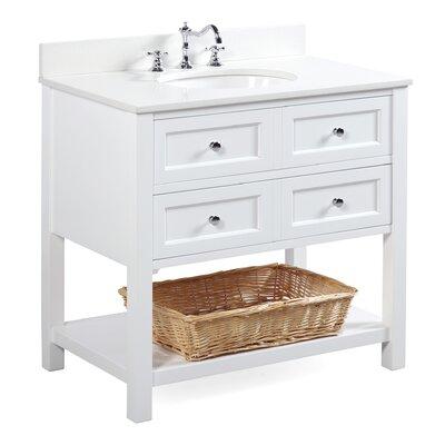 New Yorker 36 Single Bathroom Vanity Set Base Finish: White, Top Finish: Quartz