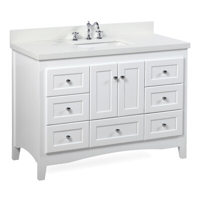 Abbey 48 Single Bathroom Vanity Set Top Finish: Quartz, Base Finish: White