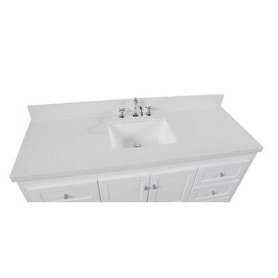 Abbey 60 Single Bathroom Vanity Set Base Finish: White, Top Finish: Quartz