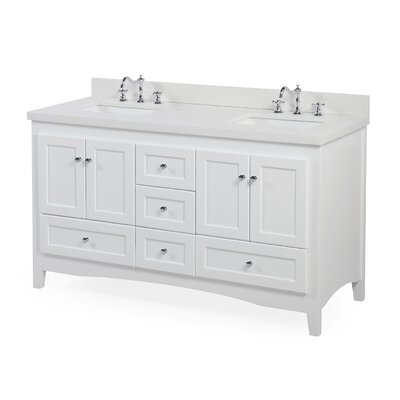 Abbey 60 Double Bathroom Vanity Set Base Finish: White, Top Finish: Quartz