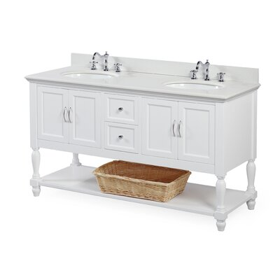 Beverly 60 Double Bathroom Vanity Set Base Finish: White, Top Finish: Quartz