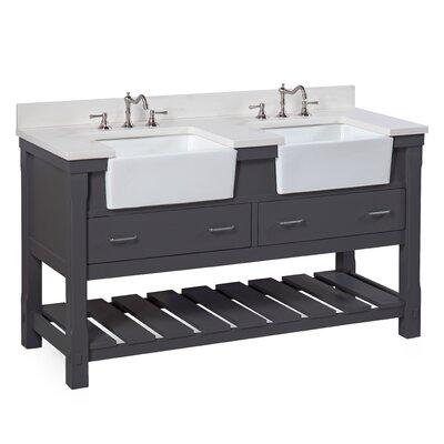 Charlotte 60 Double Bathroom Vanity Set Base Finish: Charcoal Gray