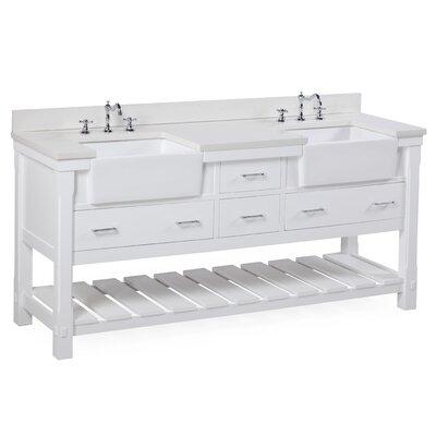 Charlotte 72 Double Bathroom Vanity Set Base Finish: White