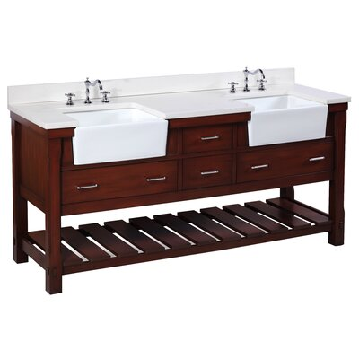 Charlotte 72 Double Bathroom Vanity Set Base Finish: Chocolate
