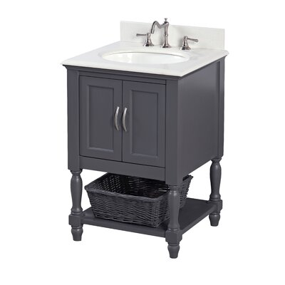 Beverly 24 Single Bathroom Vanity Set Base Finish: Charcoal Gray, Top Finish: Quartz