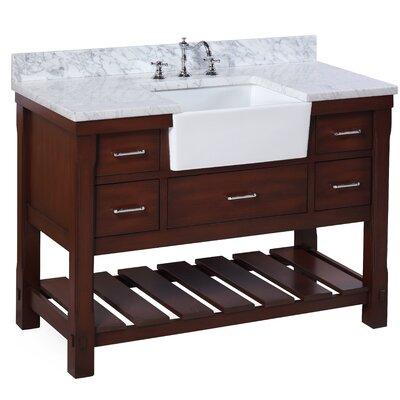 Charlotte 48 Single Bathroom Vanity Set Base Finish: Chocolate, Top Finish: Carrara Marble