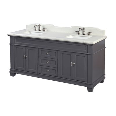 Elizabeth 72 Double Bathroom Vanity Set Base Finish: Charcoal Gray, Top Finish: Quartz
