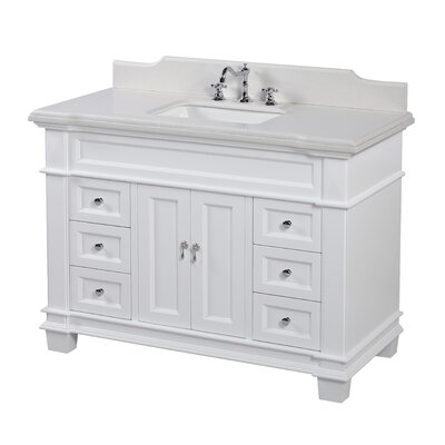 Elizabeth 48 Single Bathroom Vanity Set Top Finish: Quartz, Base Finish: White