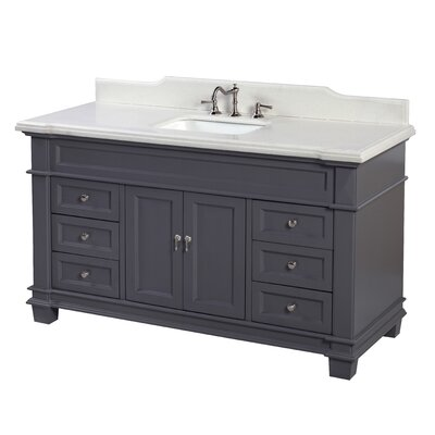 Elizabeth 60 Single Bathroom Vanity Set Base Finish: Charcoal Gray, Top Finish: Quartz
