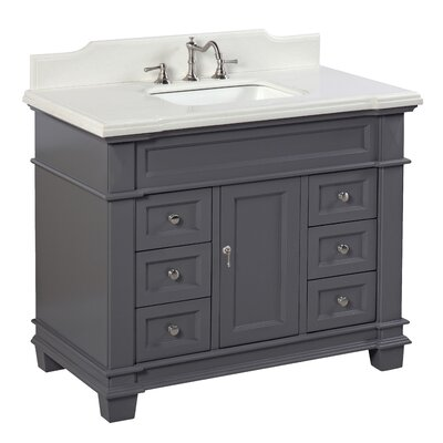 Elizabeth 42 Single Bathroom Vanity Set Base Finish: Charcoal Gray, Top Finish: Quartz