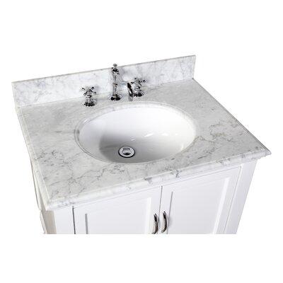 Beverly 30 Single Bathroom Vanity Set Base Finish: White, Top Finish: Carrara Marble