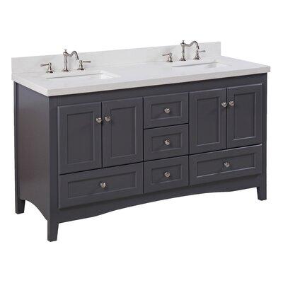 Abbey 60 Double Bathroom Vanity Set Top Finish: Quartz, Base Finish: Charcoal Gray