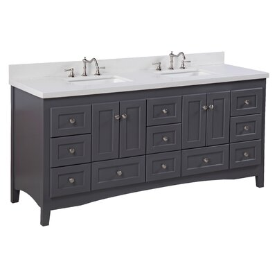 Abbey 72 Double Bathroom Vanity Set Top Finish: Quartz, Base Finish: Charcoal Gray