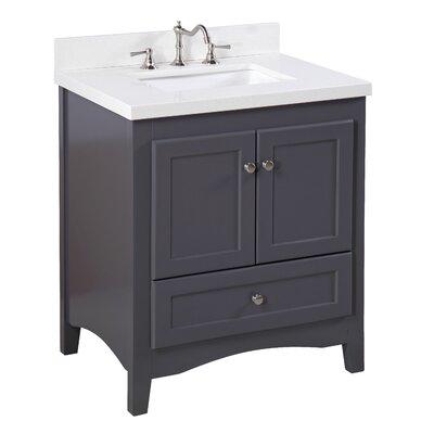 Abbey 30 Single Bathroom Vanity Set Base Finish: Charcoal Gray, Top Finish: Quartz