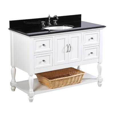 Beverly 48 Single Bathroom Vanity Set Base Finish: White, Top Finish: Black Granite