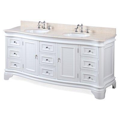 Katherine 72 Double Bathroom Vanity Set Base Finish: White, Top Finish: Crema Marfil