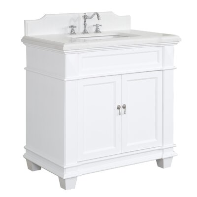 Elizabeth 36 Single Bathroom Vanity Set Base Finish: White, Top Finish: Quartz