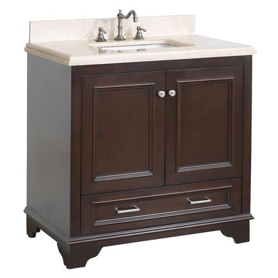 Nantucket 36 Single Bathroom Vanity Set Base Finish: Chocolate, Top Finish: Crema Marfil