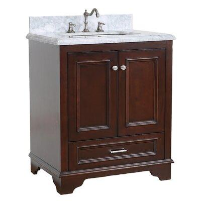 Nantucket 30 Single Bathroom Vanity Set Base Finish: Chocolate, Top Finish: Carrara Marble
