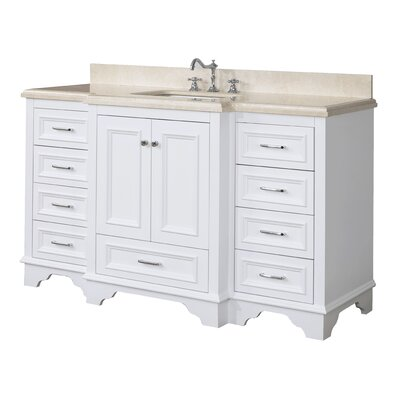 Nantucket 60 Single Bathroom Vanity Set Base Finish: White, Top Finish: Crema Marfil