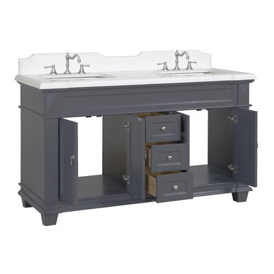 Elizabeth 60 Double Bathroom Vanity Set Top Finish: Quartz, Base Finish: Charcoal Gray