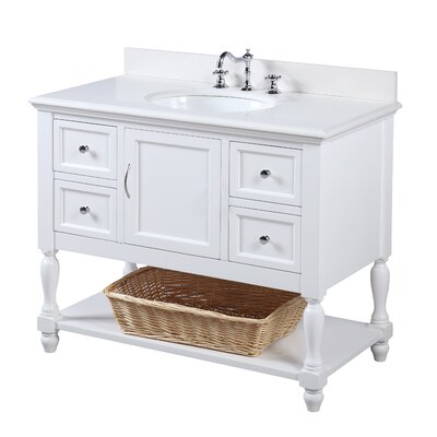 Beverly 42 Single Bathroom Vanity Set Base Finish: White, Top Finish: Quartz