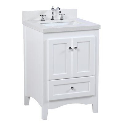 Abbey 24 Single Bathroom Vanity Set Base Finish: White, Top Finish: Carrara Marble
