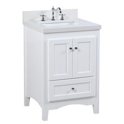 Abbey 24 Single Bathroom Vanity Set Base Finish: White, Top Finish: Quartz