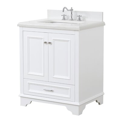 Nantucket 30 Single Bathroom Vanity Set Base Finish: White, Top Finish: Quartz
