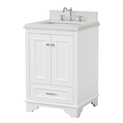 Nantucket 24 Single Bathroom Vanity Set Base Finish: White, Top Finish: Quartz
