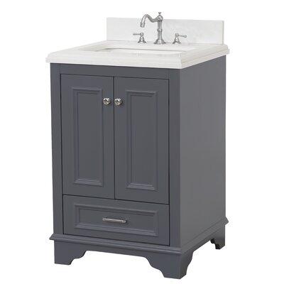 Nantucket 24 Single Bathroom Vanity Set Base Finish: Charcoal Gray, Top Finish: Quartz