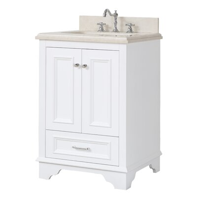 Nantucket 24 Single Bathroom Vanity Set Top Finish: Crema Marfil, Base Finish: White